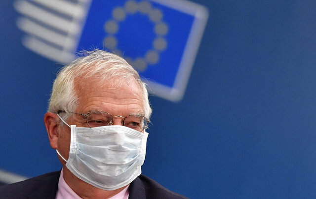 European Union foreign policy chief Josep Borrell arrives for an EU summit at the European Council building in Brussels, Friday, July 17, 2020. Leaders from 27 European Union nations meet face-to-face on Friday for the first time since February, despite the dangers of the coronavirus pandemic, to assess an overall budget and recovery package spread over seven years estimated at some 1.75 trillion to 1.85 trillion euros. (John Thys, Pool Photo via AP)