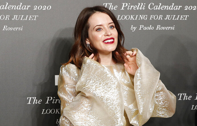 British actress Claire Foy poses for photographers at the 2020 Pirelli Calendar event in Verona, Italy, Tuesday, Dec. 3, 2019. (AP Photo/Antonio Calanni)