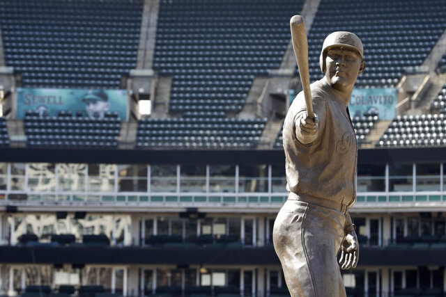 A statue of former Cleveland Indians Jim Thome stands in an empty Progressive Field, Thursday, March 26, 2020, in Cleveland. The Cleveland Indians were scheduled to play the Detroit Tigers in an Opening Day baseball game Thursday but the season has been postponed due to the coronavirus.  (AP Photo/Tony Dejak)