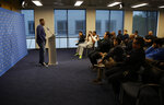 Los Angeles Chargers new linebacker Thomas Davis speaks during a news conference at the NFL football team's headquarters Friday, March 15, 2019, in Costa Mesa, Calif. (AP Photo/Gregory Bull)