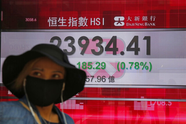 A woman wearing a face mask walks past an electronic board showing Hong Kong share index outside a local bank in Hong Kong, Tuesday, April 7, 2020. Asian shares are rising, echoing the rally on Wall Street fueled by signs of hope that the coronavirus pandemic could be slowing.  (AP Photo/Kin Cheung)