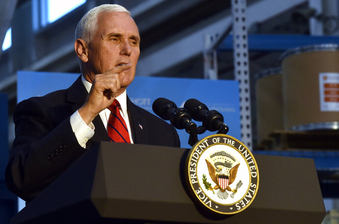 Vice President Mike Pence speaks at Schott Glass Co. in Duryea, Pa., on Monday, Oct. 21, 2019, about President Donald Trump's economic achievements and the United States-Mexico-Canada Trade agreement. (Aimee Dilger/The Times Leader via AP)