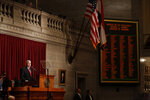 Missouri Gov. Mike Parson delivers the State of the State address Wednesday, Jan. 15, 2020, in Jefferson City, Mo. (AP Photo/Jeff Roberson)
