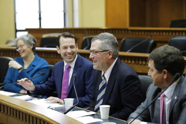 From left, House Speaker Designate Laurie Jinkins, D-Tacoma, Senate Majority Leader Andy Billig, D-Spokane, House Minority Leader J.T. Wilcox, R-Yelm, and Senate Minority Leader Mark Schoesler, R-Ritzville, take part in the AP Legislative Preview, Thursday, Jan. 9, 2020, at the Capitol in Olympia, Wash. (AP Photo/Ted S. Warren)