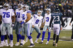 Dallas Cowboys kicker Kai Forbath (3) follows the flight of the ball after booting a field goal during the first half of an NFL football game against the Philadelphia Eagles, Sunday, Dec. 22, 2019, in Philadelphia. (AP Photo/Chris Szagola)