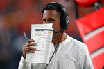 FILE - In this Aug. 19, 2019, file photo, San Francisco 49ers head coach Kyle Shanahan is shown on the sidelines during the second half of an NFL preseason football game against the Denver Broncos, in Denver. The 49ers face the Minnesota Vikings in their first playoff game in six years, on Saturday, Jan. 11, 2020. (AP Photo/David Zalubowski, File)