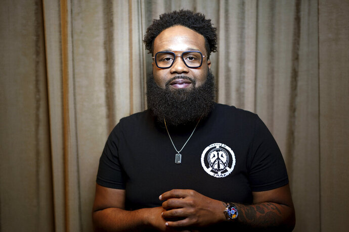"This July 5, 2019 photo shows Blanco Brown during a photo session in Nashville, Tenn. Brown, who is signed to a Nashville record label, has been mixing country and rap sounds for years. His song ""The Git Up"" has shot to No. 1 on Billboard's Hot Country Songs chart in just five weeks. (Photo by Donn Jones/Invision/AP)"
