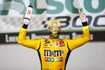 Kyle Busch (54) celebrates after winning the NASCAR Xfinity Series auto race at Charlotte Motor Speedway Monday, May 25, 2020, in Concord, N.C. (AP Photo/Gerry Broome)