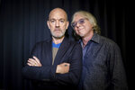 This Oct. 28, 2019 photo shows Michael Stipe and Mike Mills, from R.E.M. posing for a portrait in New York. The Neptunes, the innovative production-songwriting duo of Pharrell Williams and Chad Hugo, are nominated for the prestigious Songwriters Hall of Fame 2020 class. Joining them as nominees are Outkast, R.E.M., Mariah Carey, Patti Smith, Journey, Vince Gill, Gloria Estefan, the Isley Brothers, the Eurythmics, Mike Love, David Gates and Steve Miller. (Photo by Matt Licari/Invision/AP)