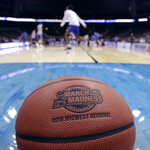 Kentucky players warm up before practice at the NCAA men's college basketball tournament Thursday, March 28, 2019, in Kansas City, Mo. Kentucky plays Houston in a Midwest Regional semifinal game on Friday. (AP Photo/Charlie Riedel)