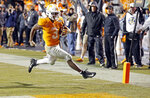 Tennessee running back Eric Gray (3) runs the ball in for a touchdown in the second half of an NCAA college football game against Vanderbilt, Saturday, Nov. 30, 2019, in Knoxville, Tenn. (AP Photo/Wade Payne)