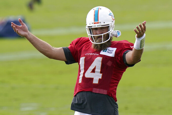 Miami Dolphins quarterback Ryan Fitzpatrick (14) gestures during practice at the NFL football team's training facility, Tuesday, Aug. 25, 2020, in Davie, Fla. (AP Photo/Lynne Sladky)