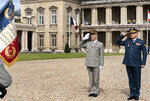 In this photo released on May 25, 20121, by the Lebanese Army official website, Lebanese Army Commander Gen. Joseph Aoun, right, and French Army Chief of Staff Gen. Francois Lecointre, left, salute as they visit at the Official Defense College, in Paris, France. The currency collapse has wiped out the salaries of the U.S.-backed Lebanese military, placed unprecedented pressure on the army's operational capabilities with some of the highest attrition rates over the past two years, and raised concerns about its ability to continue playing a stabilizing role while sectarian tensions and crime are on the rise.(Lebanese Army Website via AP)