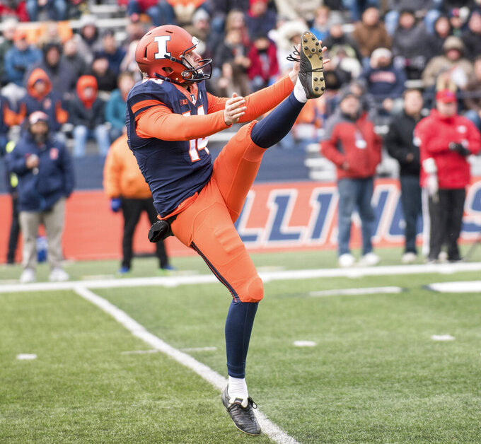 FILE - In this Nov. 11, 2017, file photo, Illinois punter Blake Hayes (14) kicks the ball during an NCAA college football game against Indiana, in Champaign, Ill. Hayes was selected to The Associated Press All-Big Conference team, Wednesday, Dec. 11, 2019. (AP Photo/Bradley Leeb, File)