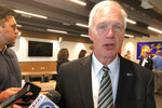 Republican U.S. Sen. Ron Johnson, of Wisconsin, says there is nothing improper with President Donald Trump calling on the Ukraine and China to investigate former Vice President Joe Biden and his son on Thursday, Oct. 3, 2019, in Madison, Wisconsin. Johnson says it is common for foreign governments to provide information to U.S. law enforcement agencies. (AP Photo/Scott Bauer)