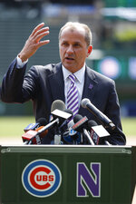 Northwestern Vice President for Athletics & Recreation Jim Phillips speaks during an announcement of a football game to be played between Northwestern and Wisconsin at Wrigley Field in Chicago, Tuesday, June 5, 2018. The Atlantic Coast Conference is finalizing a deal to make Northwestern athletic director Jim Phillips the league's next commissioner. Two people with knowledge of the situation told The Associated Press they expected an agreement to be reached with Phillips and the conference soon. (Jose M. Osorio/Chicago Tribune)/Chicago Tribune via AP)