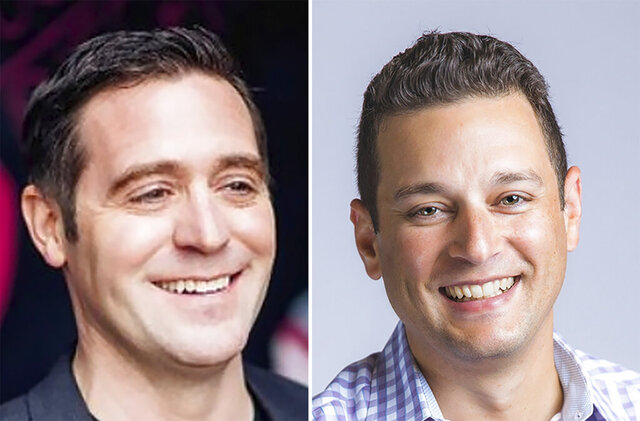 These undated photos provided by T-Mobile shows, from left, T-Mobile executives Matt Staneff and Mike Katz. T-Mobile is pushing to offer internet service to schools that are doing online learning with a program aimed at low-income students who don't have access.   (T-Mobile via AP)