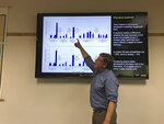 In this July 22, 2019, photo, Chris Goldfinger, an Oregon State University professor and expert on earthquakes and tsunamis, talks to the media about the probability of a large tsunami-generating earthquake occurring off the Oregon coast in Newport, Ore. Goldfinger is sharply critical of a recent repeal of a ban on construction of critical facilities in tsunami inundation zones in Newport, Ore. (AP Photo/Andrew Selsky)