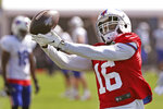 Buffalo Bills wide receiver Robert Foster (16) catches a pass in a drill during an NFL football training camp in Orchard Park, N.Y., Sunday, Aug. 23, 2020. (James P. McCoy/The Buffalo News via AP, Pool)