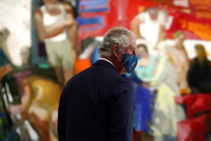 Britain's Prince Charles attends a ceremony at Greece's newly renovated National Gallery in Athens, Wednesday, March 24, 2021. Greece on Wednesday kicked off two days of celebrations to mark the bicentenary of the start of the country's war of independence, although events are far more muted than originally planned due to the pandemic. (AP Photo/Yorgos Karahalis)