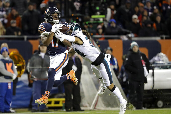 Philadelphia Eagles cornerback Cre'von LeBlanc (34) breaks up a pass intended for Chicago Bears wide receiver Anthony Miller (17) during the first half of an NFL wild-card playoff football game Sunday, Jan. 6, 2019, in Chicago. (AP Photo/Nam Y. Huh)