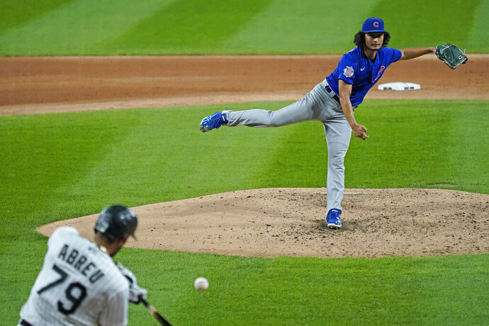 CORRECTS TO DARVISH NOT DARVICH - Chicago Cubs starting pitcher Yu Darvish, of Japan, throws the ball to Chicago White Sox's Jose Abreu during the fourth inning of a baseball game in Chicago, Friday, Sept. 25, 2020. (AP Photo/Nam Y. Huh)