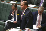 In this Sept. 12, 2019, photo, Australian Treasurer Josh Frydenberg addresses Parliament in Canberra, Australia. Lawyers for Frydenberg and for Gladys Liu, the first Chinese-born lawmaker, to be appointed to Australia's Parliament have appeared in a court to fight challenges to their elections over misleading Chinese-language campaign signs. (AP Photo/Rod McGuirk)