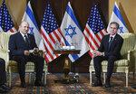 Secretary of State Antony Blinken meets with Israeli Prime Minister Naftali Bennett at the Willard Hotel in Washington, Wednesday, Aug. 25, 2021. (Olivier Douliery/Pool via AP)