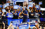 Former Florida Democratic gubernatorial candidate Andrew Gillum speaks during a rally, Wednesday, March 20, 2019, in Miami Gardens, Fla. The Florida Democratic Party plans to step up efforts to register voters in hopes of making the swing state go blue in the 2020 presidential race. (AP Photo/Wilfredo Lee)