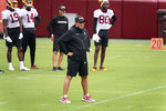 Washington head coach Ron Rivera watches his team during an NFL football practice at FedEx Field, Monday, Aug. 31, 2020, in Washington. (AP Photo/Alex Brandon)