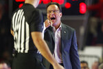 Georgia coach Tom Crean speaks with an official during the team's NCAA college basketball game against Georgia Tech on Wednesday, Nov. 20, 2019, in Athens, Ga. (Joshua L. Jones/Athens Banner-Herald via AP)