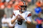 Cleveland Browns quarterback Case Keenum looks to throw during the first half of an NFL football game against the New York Giants, Sunday, Aug. 22, 2021, in Cleveland. (AP Photo/David Richard)