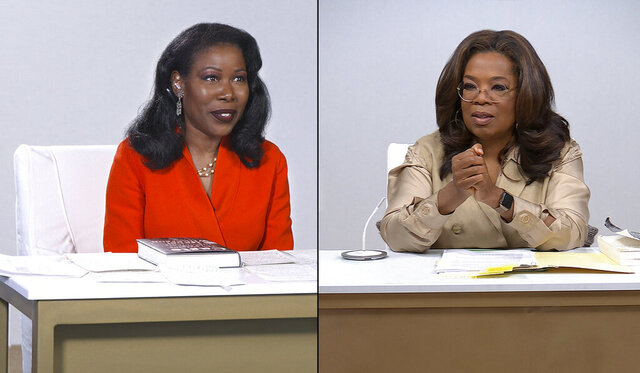 "This combination photo released by Apple shows Isabel Wilkerson, author of ""Caste: The Origins of Our Discontents,"" left, and host Oprah Winfrey during a discussion for"