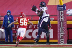 Houston Texans tight end Jordan Akins (88) scores a touchdown ahead of Kansas City Chiefs linebacker Ben Niemann (56) in the second half of an NFL football game Thursday, Sept. 10, 2020, in Kansas City, Mo.(AP Photo/Jeff Roberson)