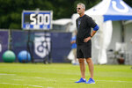 Indianapolis Colts head coach Frank Reich watches practice at the NFL team's football training camp in Westfield, Ind., Friday, Aug. 6, 2021. (AP Photo/Michael Conroy)