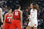 Maryland's Shakira Austin (1) reacts after hitting a shot and getting fouled during the second half of an NCAA college basketball championship game against Ohio State at the Big Ten Conference tournament, Sunday, March 8, 2020, in Indianapolis. Maryland defeated Ohio State 82-65. (AP Photo/Darron Cummings)