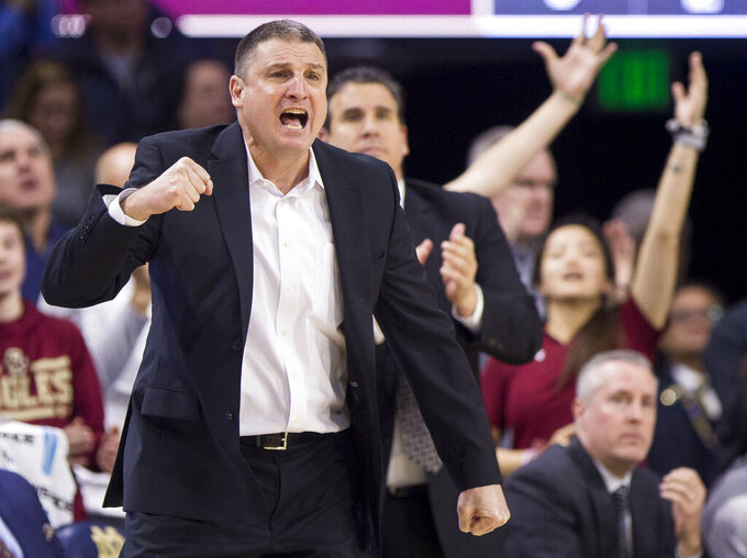 Boston College head coach Jim Christian yells to his team during the second half of an NCAA college basketball game against Notre Dame Saturday, Jan. 12, 2019, in South Bend, Ind. Notre Dame won 69-66. (AP Photo/Robert Franklin)