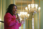 In this photo taken Friday, Nov. 1, 2019, San Francisco Mayor London Breed smiles while speaking at the annual Women In Construction Expo in San Francisco. San Francisco's mayor faces easy re-election in Tuesday's election but a hefty list of problems to solve, including a homelessness crisis, drug epidemic and a housing shortfall. The former president of the Board of Supervisors narrowly won a special June 2018 election to fill the seat left vacant by the sudden death of Mayor Ed Lee. (AP Photo/Eric Risberg)