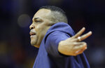 Georgia State head coach Ron Hunter talks to his players during the first half of a first round men's college basketball game against Houston in the NCAA Tournament Friday, March 22, 2019, in Tulsa, Okla. (AP Photo/Charlie Riedel)