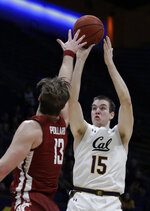 California's Grant Anticevich, right, shoots over Washington State's Jeff Pollard during the second half of an NCAA college basketball game Thursday, Jan. 9, 2020, in Berkeley, Calif. (AP Photo/Ben Margot)