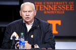 "Tennessee Athletics Director Phillip Fulmer speaks during a press conference in Knoxville, Tenn., on Monday, Jan. 18, 2021. Tennessee has fired NCAA college football coach Jeremy Pruitt, two assistants and seven members of the Volunteers' recruiting and support staff for cause after an internal investigation found what the university chancellor called ""serious violations of NCAA rules."" (Brianna Paciorka/Knoxville News Sentinel via AP)"