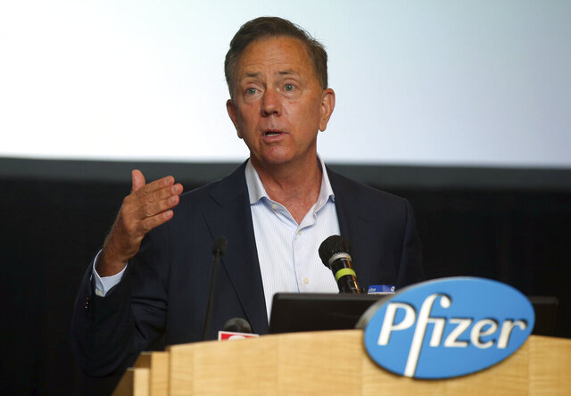 Connecticut Gov. Ned Lamont speaks at a press conference at Pfizer Groton on the companies research to develop a vaccine for COVID-19, Wednesday, July 22, 2020, in Groton, Conn. The federal government has agreed to pay nearly $2 billion for 100 million doses of a potential COVID-19 vaccine being developed by the U.S. drugmaker and its German partner BioNTech. (AP Photo/Stew Milne)