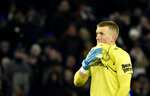Everton's goalkeeper Jordan Pickford reacts after Leicester's Kelechi Iheanacho scoring his side's second goal during the English Premier League soccer match between Leicester City and Everton at the King Power Stadium in Leicester, England, Sunday, Dec. 1, 2019. (AP Photo/Rui Vieira)