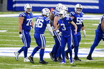 Indianapolis Colts kicker Rodrigo Blankenship (3) celebrates a 53-yard field goal with long snapper Luke Rhodes (46) in the second half of an NFL football game against the Houston Texans in Indianapolis, Sunday, Dec. 20, 2020. (AP Photo/Darron Cummings)