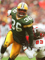 FILE - In this Jan. 4, 1998 file photo, Green Bay Packers strong safety LeRoy Butler moves in against the Tampa Bay Buccaneers during the NFC Divisional Playoffs in Green Bay, Wisc.,. John Lynch, now the general manager of the 49ers who will play the Chiefs in Sunday's Super Bowl, is up for the seventh time. Steve Atwater is a finalist for the third time. LeRoy Butler and first-year eligible Troy Polamalu complete the quartet of safeties among the 15 final candidates for the Pro Football Hall of Fame. AP Photo/Charles Krupa, File)