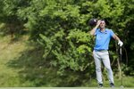 Viktor Hovland, of Norway, reacts after his shot on the 15th hole during the third round of the Workday Charity Open golf tournament, Saturday, July 11, 2020, in Dublin, Ohio. (AP Photo/Darron Cummings)