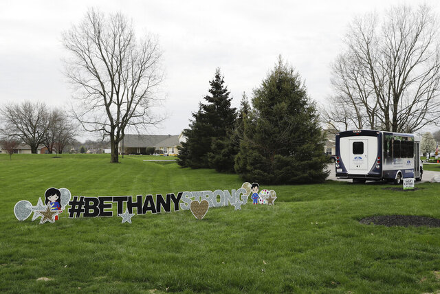 A sign is displayed at the Bethany Pointe Health Campus, Saturday, April 11, 2020, in Anderson, Ind. Multiple residents at the Indiana nursing home have died from COVID-19. The new coronavirus causes mild or moderate symptoms for most people, but for some, especially older adults and people with existing health problems, it can cause more severe illness or death. (AP Photo/Darron Cummings)