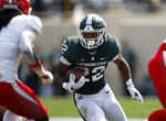 Michigan State running back Jordon Simmons runs against Youngstown State during the third quarter of an NCAA college football game, Saturday, Sept. 11, 2021, in East Lansing, Mich. Michigan State won 42-14. (AP Photo/Al Goldis)