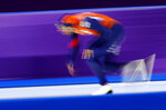 Gold medallist Kjeld Nuis of The Netherlands competes during the men's 1,500 meters speedskating race at the Gangneung Oval at the 2018 Winter Olympics in Gangneung, South Korea, Tuesday, Feb. 13, 2018. (AP Photo/Vadim Ghirda)