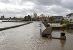 A general view of the aftermath of Storm Dennis in Acaster Malbis, England, Monday, Feb. 17, 2020. Britain issued five severe flood alerts on Monday, warning of a danger to life after Storm Dennis dumped weeks worth of rain in some places. It gale-force winds also injured nine people in weather-related car accidents in Germany and caused flooding and power outages elsewhere in northern Europe. (Danny Lawson/PA via AP)